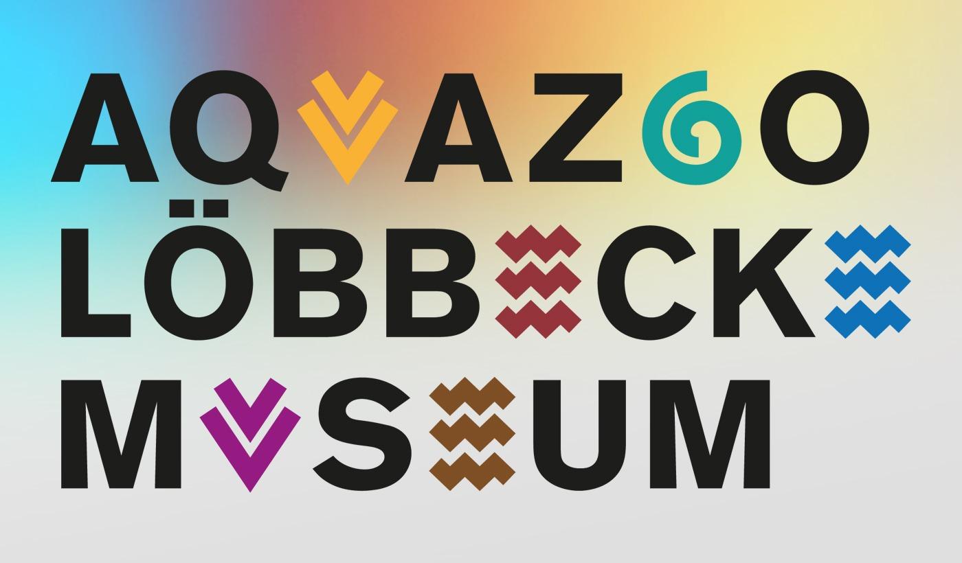 Studio dos, Grafikdesign Osnabrück, Aquazoo Löbbecke Museum Logo in Farbe mit farbigem Hintergrund