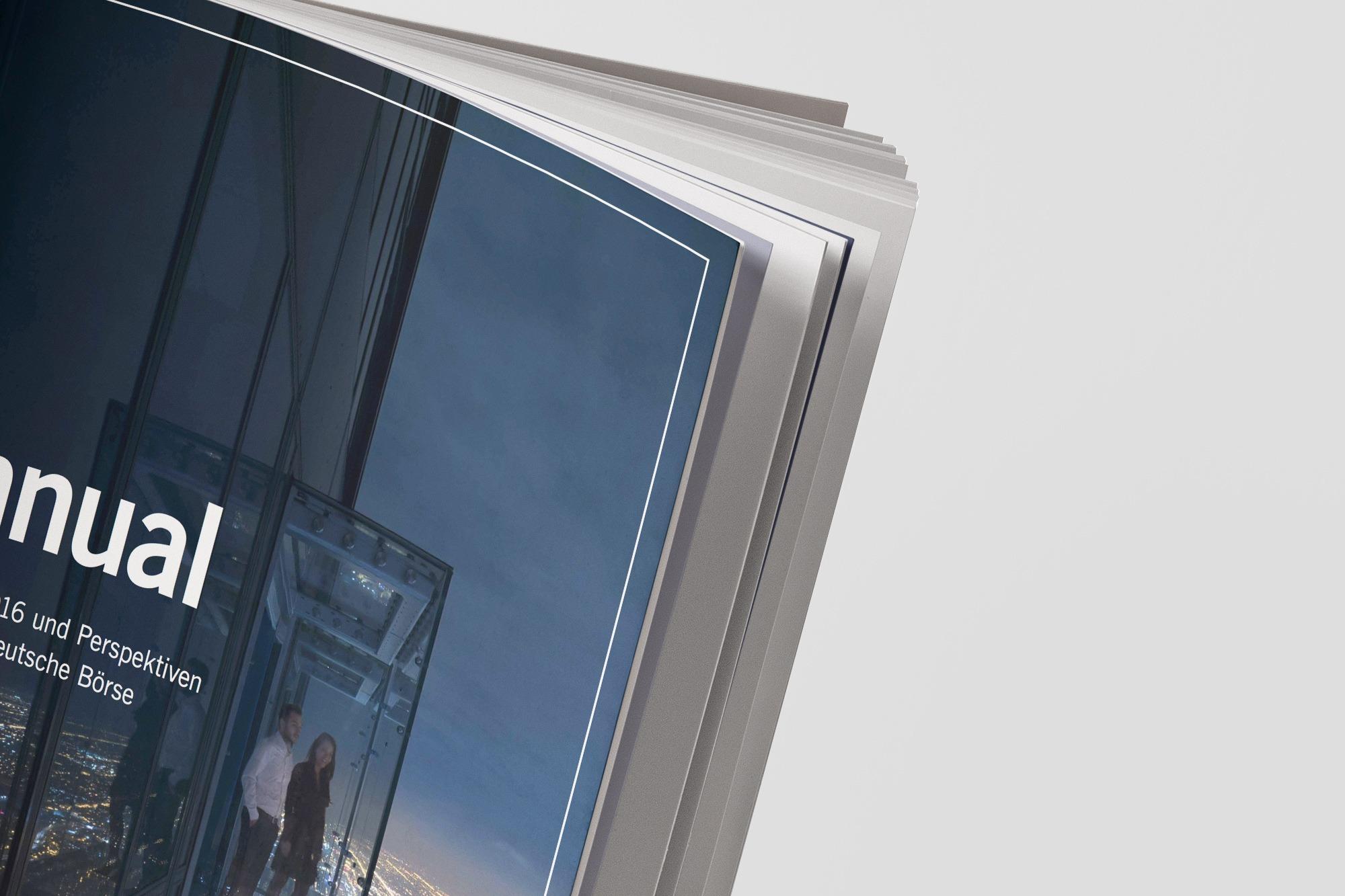 Studio dos, Grafikdesign Osnabrück, Gruppe Deutsche Börse Annual Cover aufgeschlagen Detail