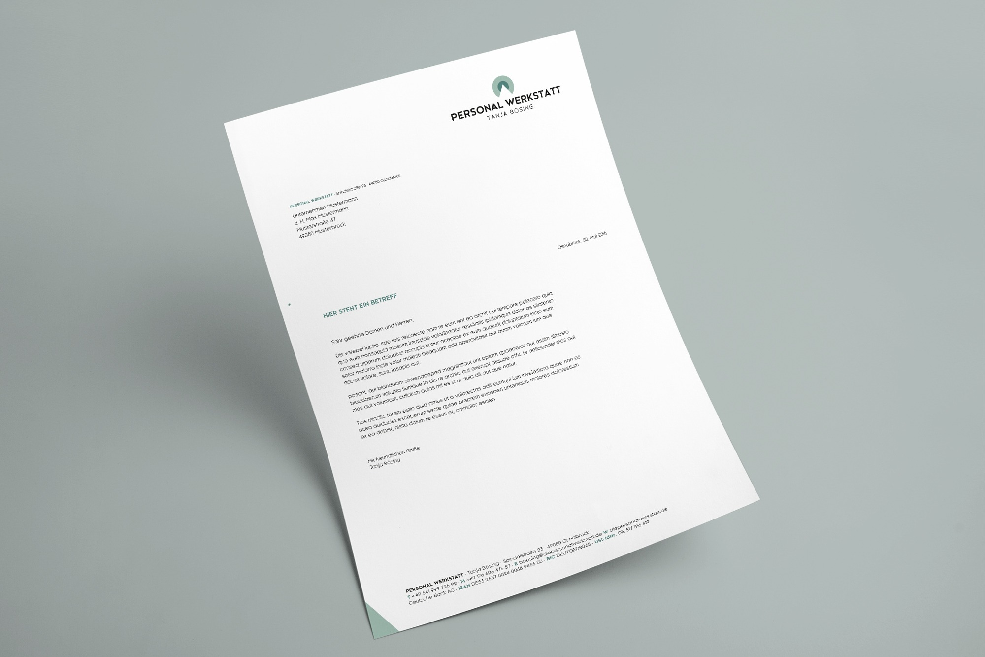 Studio dos, Grafikdesign Osnabrück, Die Personalwerkstatt Briefbogen