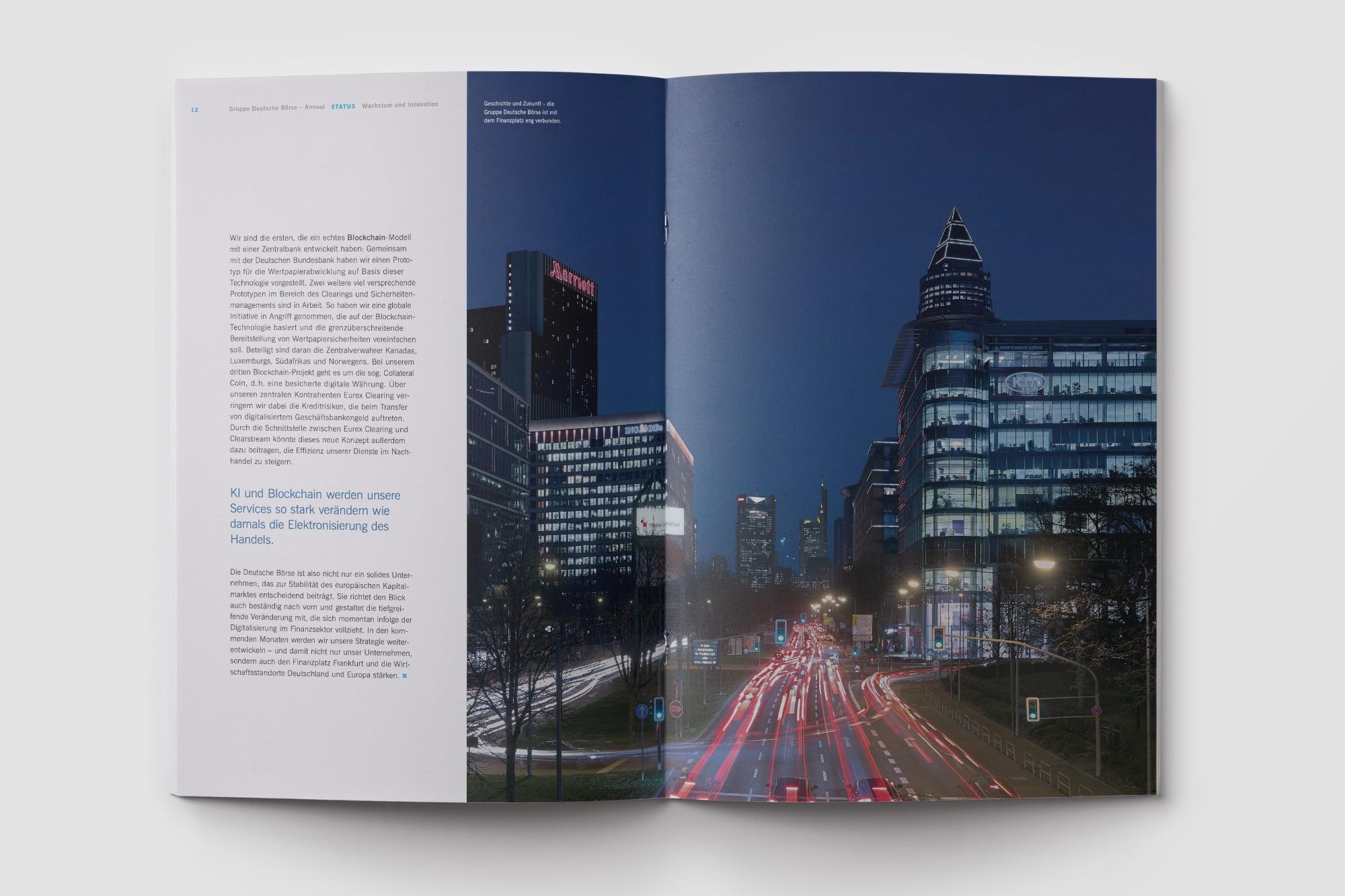 Studio dos, Grafikdesign Osnabrück, Gruppe Deutsche Börse Annual Innenseite aufgeschlagen