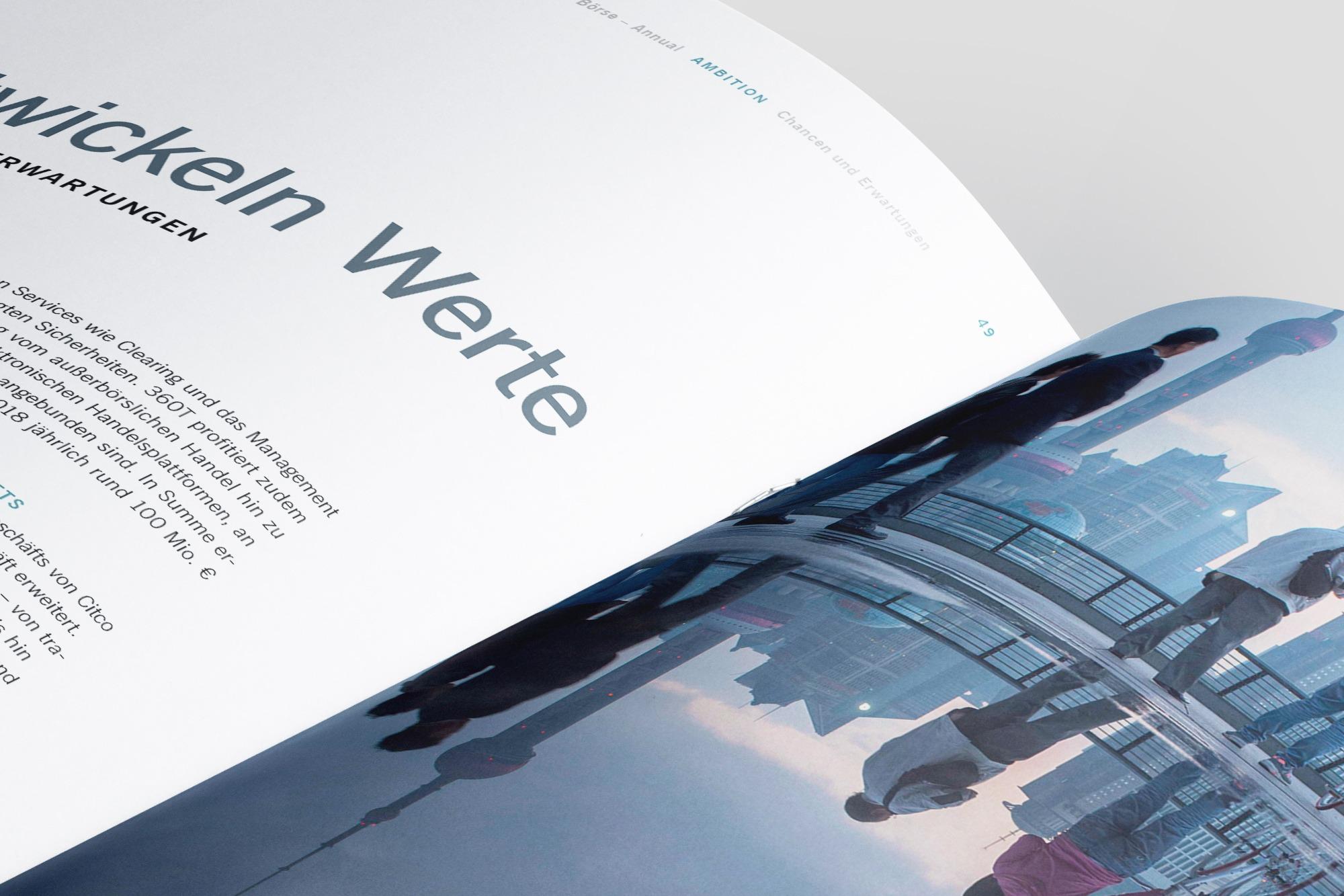 Studio dos, Grafikdesign Osnabrück, Gruppe Deutsche Börse Annual Innenseite aufgeschlagen Detail