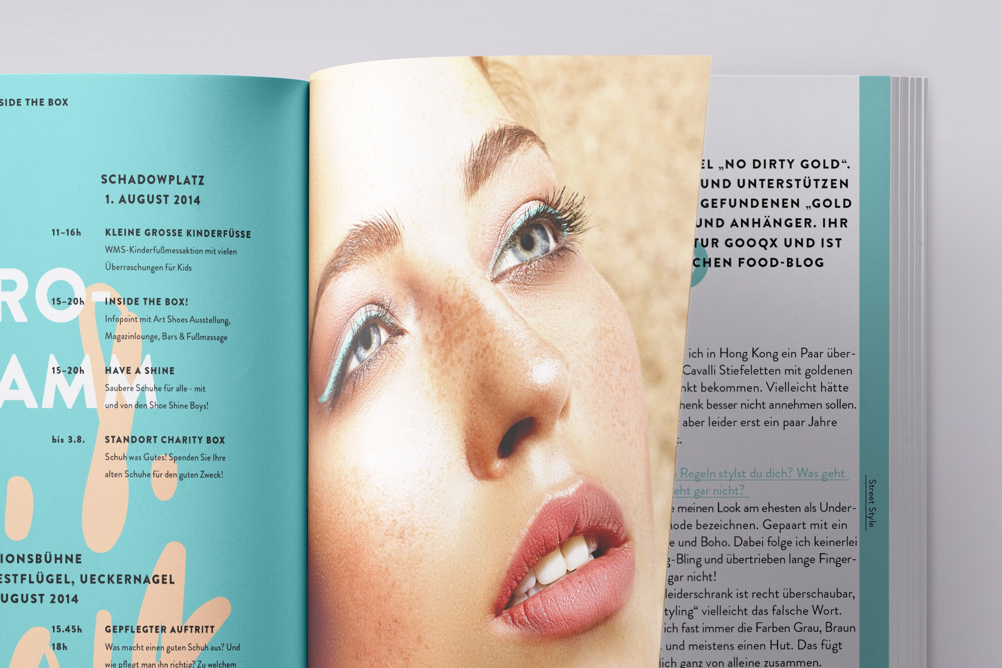 Studio dos, Grafikdesign Osnabrück, Out of the Box Festivalmagazin Innenseite Detail