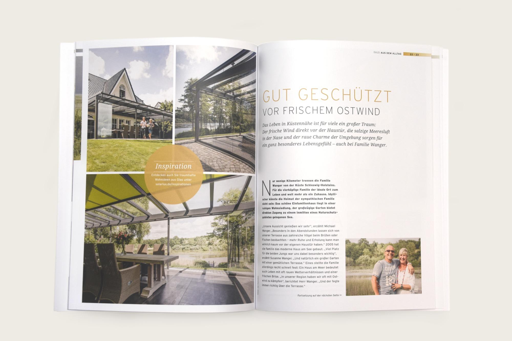Studio dos, Grafikdesign Osnabrück, Solarlux Kundenmagazin Innenseite