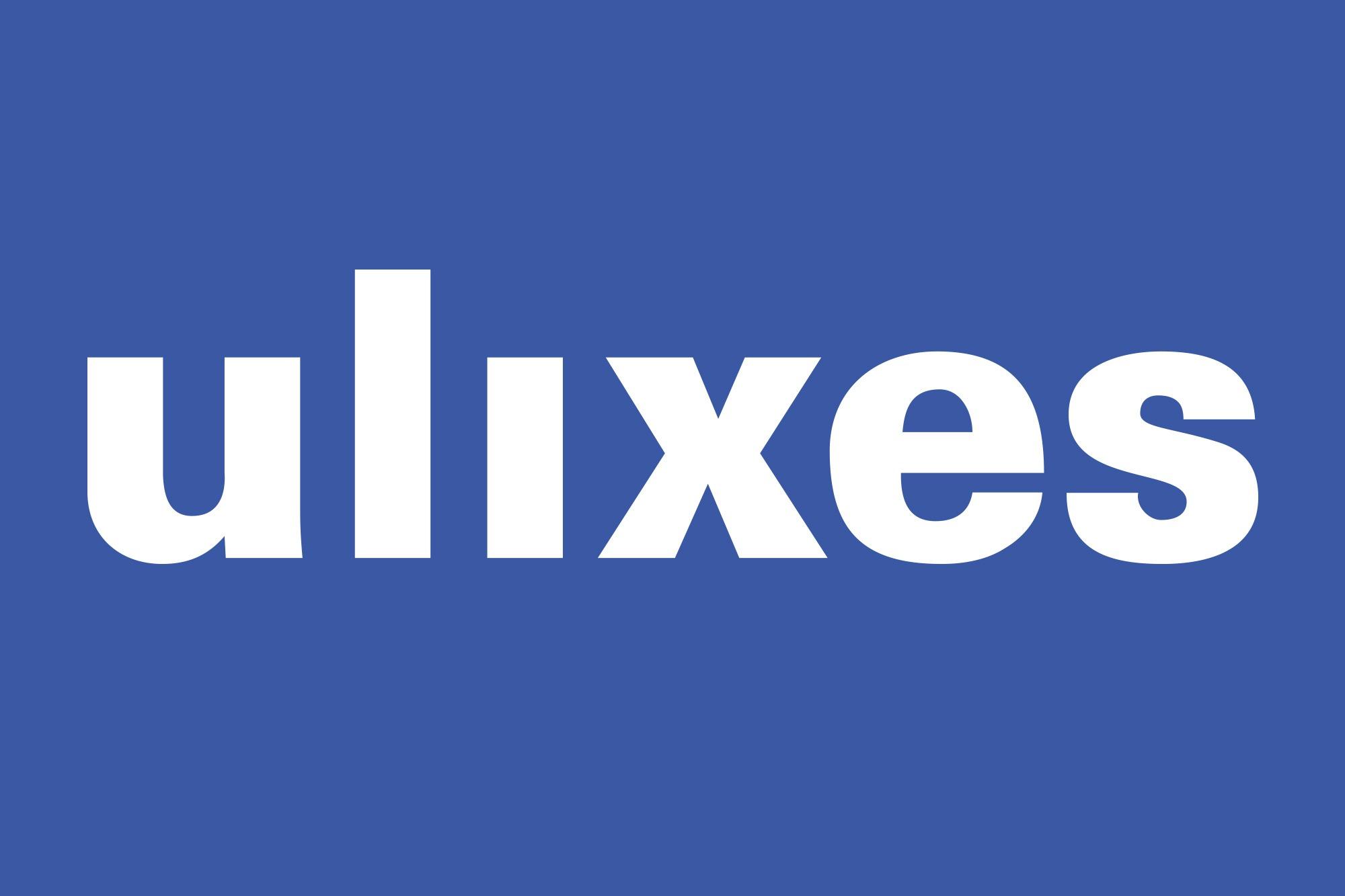 Studio dos, Grafikdesign Osnabrück, ulixes Robotersysteme Logo auf blauem Hintergrund