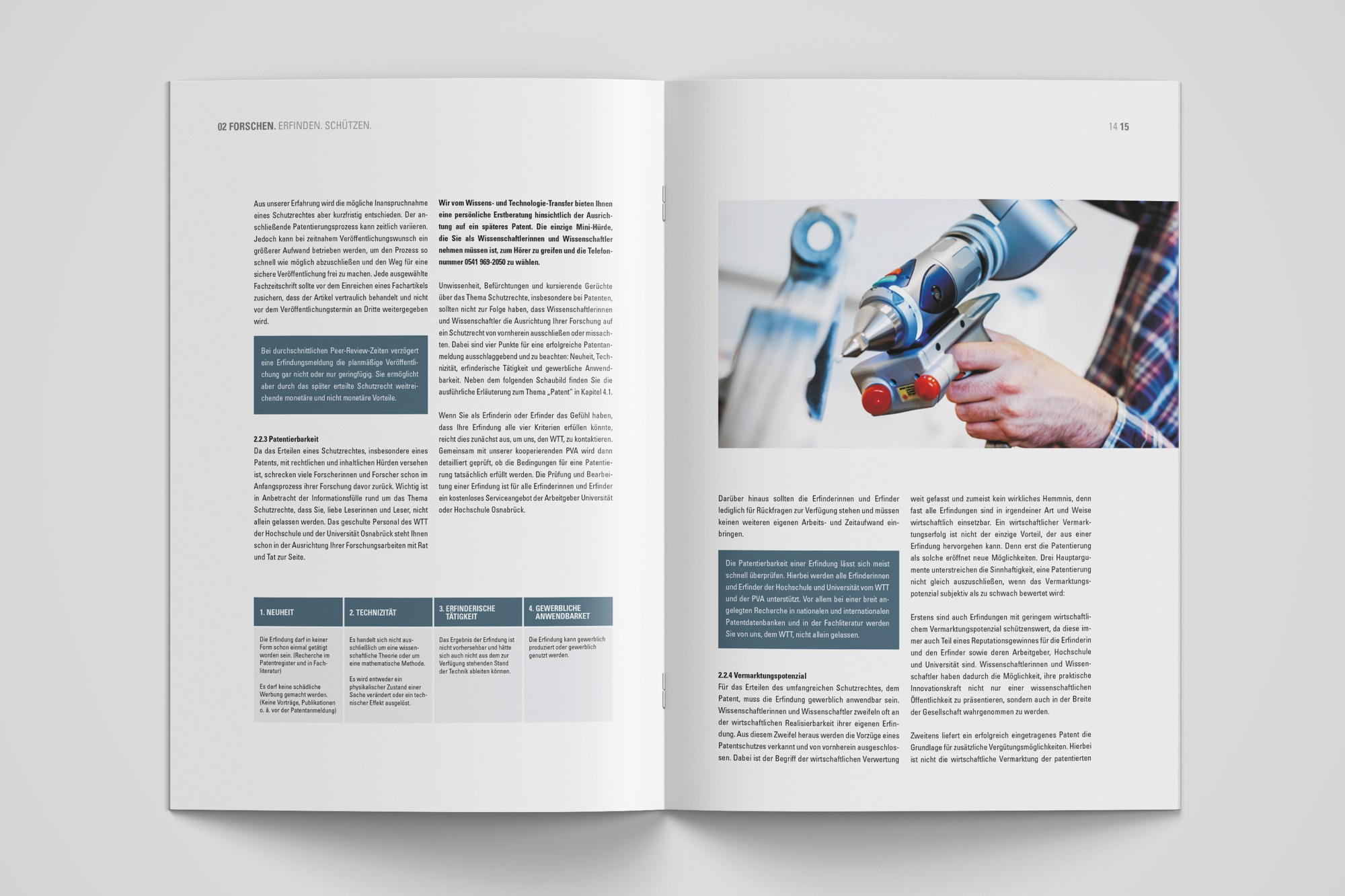 Studio dos, Grafikdesign Osnabrück, Wissens- und Technologietransfer Erfinderleitfaden Innenseite